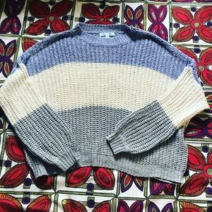 Striped light weight cropped sweater
